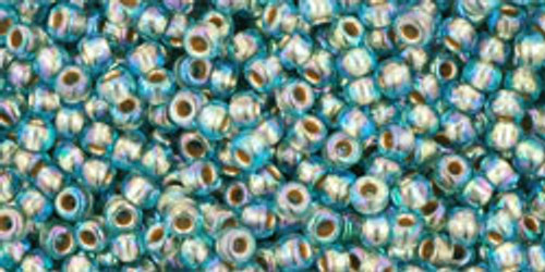 Toho Seed Beads 11/0 Round #421 Gold Lined Rainbow Aqua 20 gram pack TR-11-995