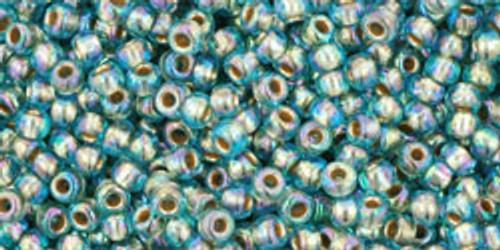 Toho Bulk Seed Beads 11/0 Round #421 'Gold Lined Rainbow Aqua' 250 gram factory pack TR-11-995