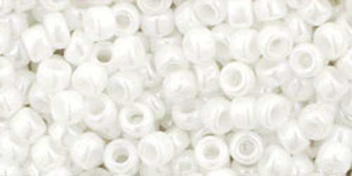 Toho seed Beads 8/0 Rounds #62 Opaque-Lustered White 250 Grams