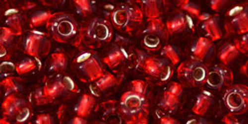Toho Seed Beads 6/0 Round #86 Silver Lined Ruby 20 grams