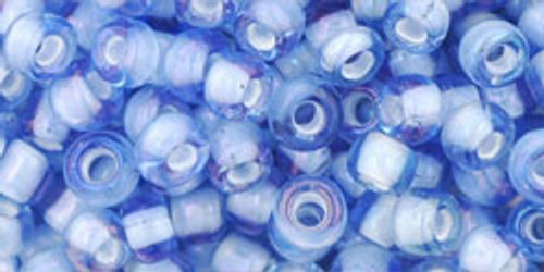 Toho Seed Beads 6/0 Round #75 Light Sapphire White Lined 250 grams