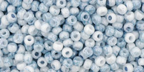 Toho Bulk Seed Beads 11/0 Rounds #50 Marbled Opaque White/Blue 250 gram