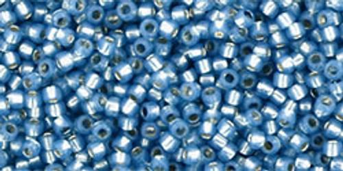 Toho Seed Beads 15/0 Silver Lined Milky Montana Blue 50 grams