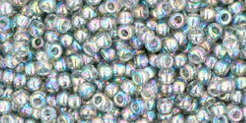 Toho Seed Beads 11/0 Rounds Transparent-Rainbow Black Diamond