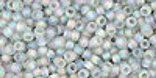 Toho Seed Beads 11/0 Rounds Transparent-Rainbow-Frosted Black Diamond 8 gram