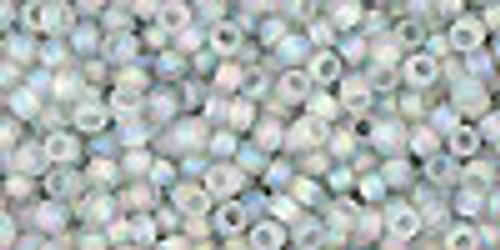 Toho Seed Beads 11/0 Rounds Transparent-Rainbow-Frosted Black Diamond 8 gram