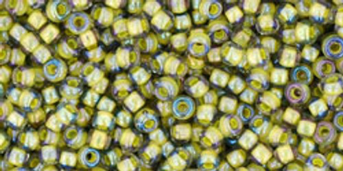 Toho Seed Bead 11/0 Round In-Luster Black Diamond/Opaque Yellow lined