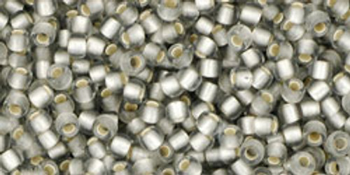 Toho Seed Bead 11/0 Round #189 Frosted Silver-Lined Black Diamond 250 gm