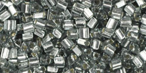 Toho Seed Beads 11/0 Triangles Silver Lined Gray 8g
