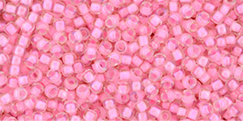 Toho Beads 11/0 Transparent Rainbow Crystal Hot Pink 8g
