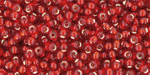 Toho Seed Beads 11/0 Rounds #157 Silver-Lined Ruby 250 Grams