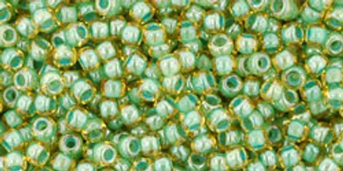 Toho Seed Beads 11/0 Rounds In-Topaz/Mint Julep Lined
