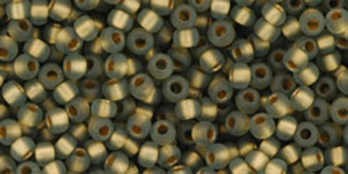 Toho Seed Beads 11/0 Round #95 Frosted Gold Lined Black Diamond 250 gram