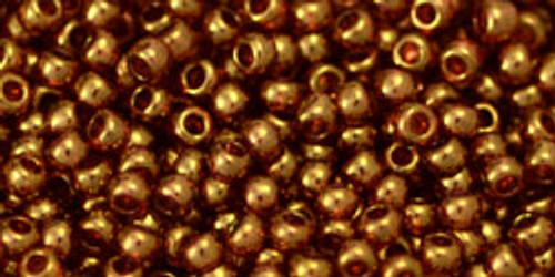 Toho Seed Beads 11/0 Rounds Gold-Lustered Transparent Pink