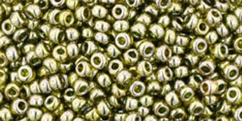Toho Seed Beads 11/0 Rounds Gold-Lustered Green Tea