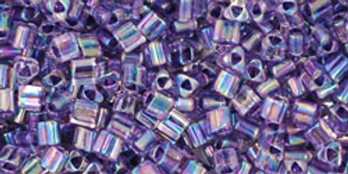 Toho Seed Beads 11/0 Triangle Rainbow Crystal Grape Lined 7g