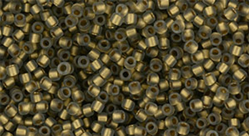 Toho Seed Beads 15/0 Gold Lined Frosted Black Diamond 9g