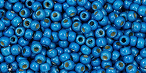 Toho Seed Beads 11/0 #481 Perm Fin Galvanized Matte Caribbean Blue 20 grams