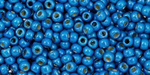 Toho Seed Beads 11/0 #481 Perm Fin Galvanized Matte Caribbean Blue 50 grams