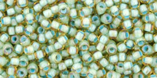 Toho Seed Beads 11/0 Rounds Rainbow Light Topaz/Sea Foam Lined 8 gram