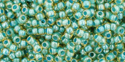 Toho Seed Beads 11/0 Rounds Inside-Color Jonquil/Turquoise Lined