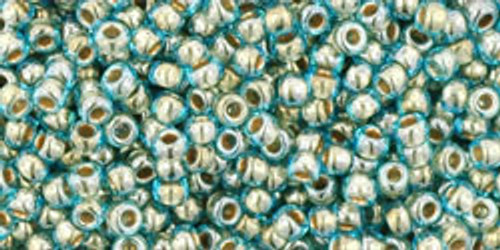 Toho Seed Beads 11/0 Rounds Gold-Lined Aqua 8 gram