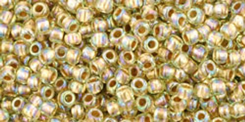 Toho Seed Beads 11/0 Rounds Gold-Lined Rainbow Light Jonquil