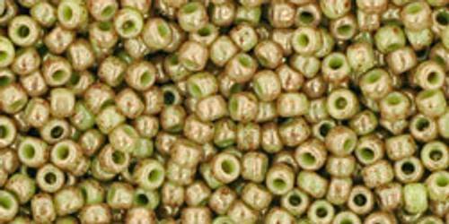 Toho Seed Beads 11/0 Rounds Marbled Opaque Avacado/Pink