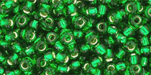 Toho Seed Beads 8/0 Rounds Silver-Lined Grass Green