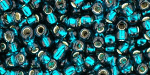 Toho Seed Beads 8/0 Rounds Silver-Lined Teal