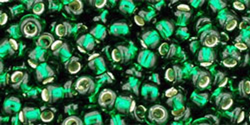 Toho Seed Beads 8/0 Rounds Silver-Lined Green Emerald