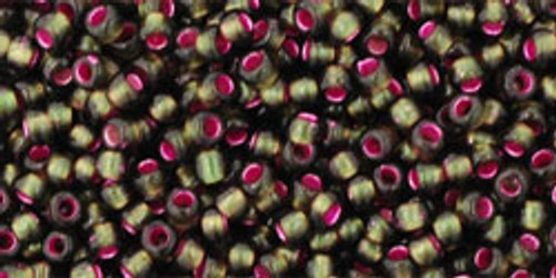 Toho Beads 11/0 Round Silver-Lined Frosted Olivine-Pink Lined