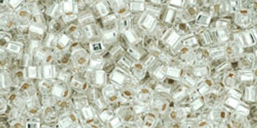 Toho Seed Beads Cubes 1.5mm Silver-Lined Crystal