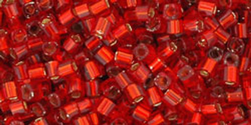 Toho Seed Beads Cubes 1.5mm Silver-Lined Ruby