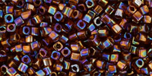 Toho Seed Beads 1.5 mm Cube Transparent Rainbow Smoky Topaz