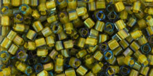 Toho Seed Beads Cubes 1.5mm  Luster Black Diamond/Opaque Yellow