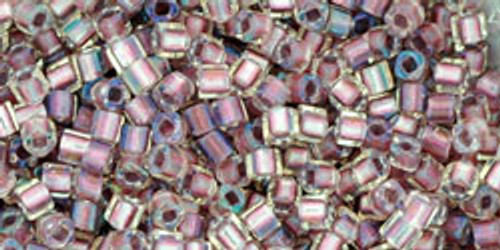 Toho Seed Beads Cubes 1.5mm Inside-Color Crystal/Rose Gold Lined