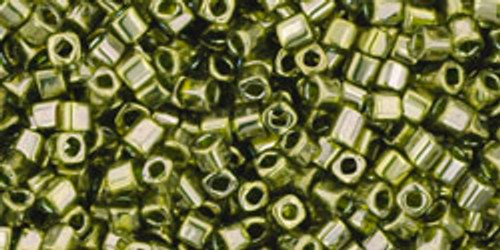 Toho Seed Beads Cubes 1.5mm Gold-Lustered Green Tea