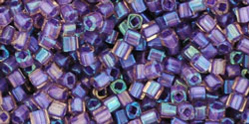 Toho Seed Bead Cube 1.5mm In-Color Rainbow Rosaline/Opaque Purple