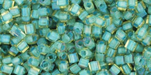Toho Seed Beads Cubes 1.5mm  In-Rainbow Light Topaz/Sea Foam Lined