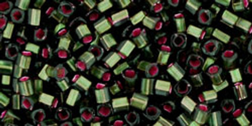 Toho Seed Beads Cubes 1.5mm Silver Lined Frosted Olivine Pink Lined 8 gram tube
