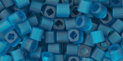 Toho Seed Beads Cubes 3mm Transparent-Frosted Teal