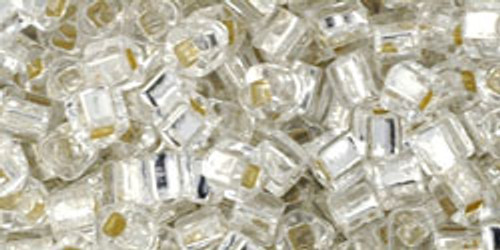 Toho Seed Beads Cubes 3mm Silver-Lined Crystal