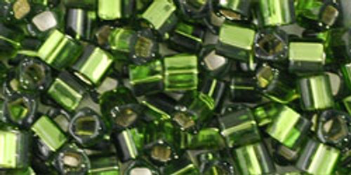 Toho Seed Beads Cubes 3mm Silver-Lined Olivine