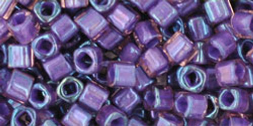 Toho Seed Beads Cubes 3mm Inside- Rainbow Rosaline/Opaque Purple