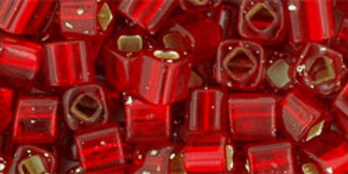 Toho Seed Beads Cubes 4mm Silver-Lined Ruby