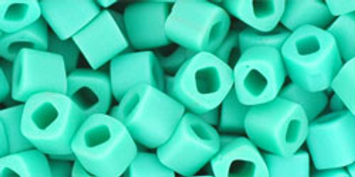 Toho Seed Beads Cubes 4mm Opaque-Frosted Turquoise