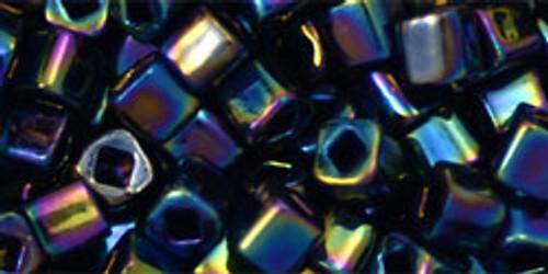 Toho Seed Beads Cubes 4mm Metallic Rainbow Iris