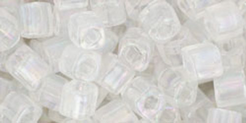 Toho Seed Beads Cubes 4mm Transparent-Rainbow Crystal