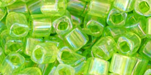 Toho Seed Beads Cubes 4mm Transparent-Rainbow Lime Green